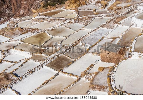 Salinas de Maras, the traditional inca salt field in Maras near Cuzco in Sacred Valley, Peru