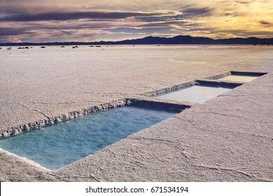 Salinas Grandes in a salt desert in the Jujuy Province, Argentina, Andes