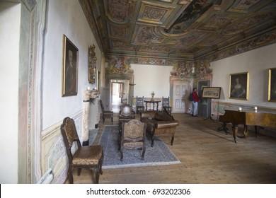 Salis museum interior in Tirano Valltellina on April 17, 2017 Italy