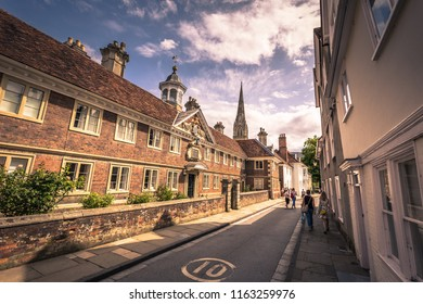Salisbury - August 07, 2018: Old historic center of Salisbury, England