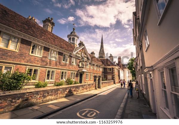 Salisbury - August 07, 2018: Old historic center of Salisbury, England