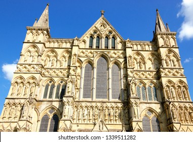Salisbury Cathedral (England, UK). Facade. English Gothic architecture.