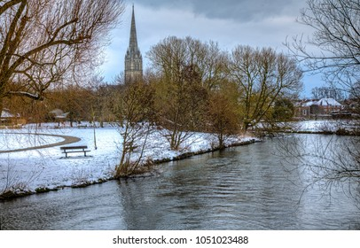 Salisbury Cathedral Spire seen from the River Avon in freezing temperatures