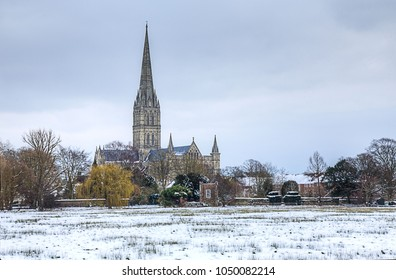 Salisbury Cathedral in Sub-Zero Temperatures  Salisbury Cathedral from Harnham Water Meadows on a freezing day.