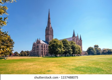 Salisbury Cathedral In Summer Sunshine