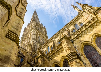 Salisbury cathedral in sunny day