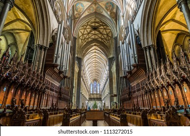 Salisbury Cathedral, Wiltshire, England -  Dec 28 2014 : Interior of Salisbury Cathedral