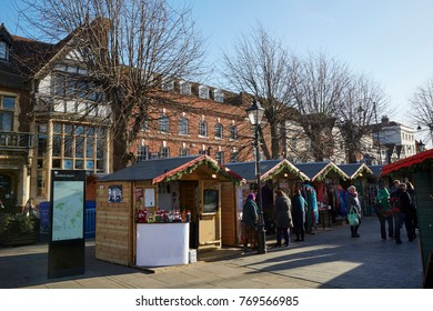 SALISBURY CITY UK - 2ND DECEMBER 2017; Christmas market in the centre of Salisbury