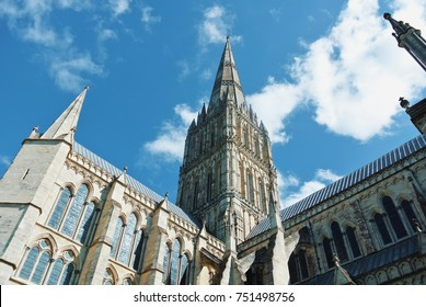 SALISBURY, ENGLAND - AUGUST 02, 2013: View of Salisbury cathedral church of the Blessed Virgin Mary. Example of early english gothic architecture.