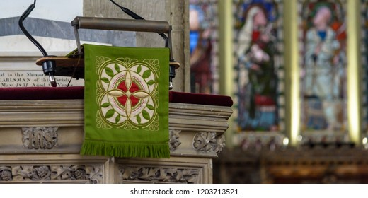 Salisbury, England - Sep 1, 2018: St Thomas and St Edmunds Church - Pulpit Cloth, shallow depth of field