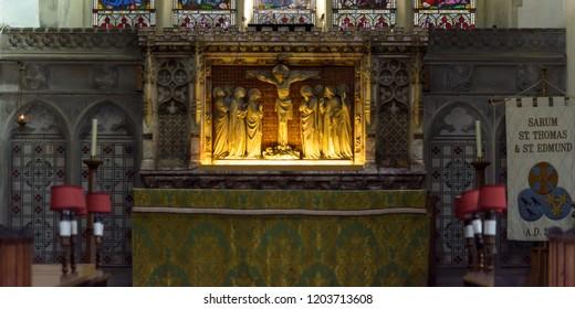 Salisbury, England - Sep 1, 2018: St Thomas and St Edmunds Church - High Altar close up