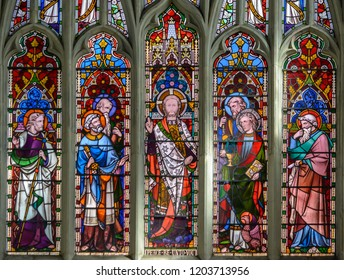 Salisbury, England - Sep 1, 2018: St Thomas and St Edmunds Church - The East Chancel Window Upper Lights, Victorian Glass inserted in 1856