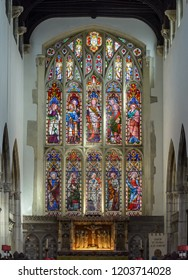 Salisbury, England - Sep 1, 2018: St Thomas and St Edmunds Church - The East Chancel Window, Victorian Glass inserted in 1856