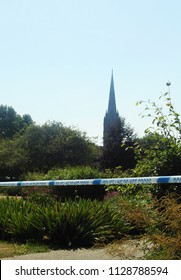 Salisbury, England, UK. June 7 2018. Following the latest Novichok poisoning incident, Queen Elizabeth Gardens is closed as forensic teams search for signs of the source of the contamination
