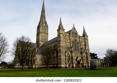 Salisbury, England / UK - March 30, 2016: three dimensional view of Salisbury Cathedral
