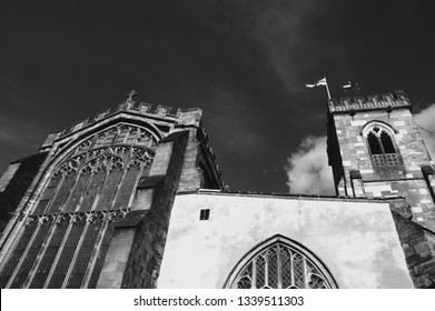 Salisbury, England, UK. Parish Church of St. Thomas and St. Edmund. Black and white photo.