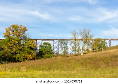 Salisbury Mills, NY / United States - Sept. 29, 2019:  Landscape view of the Moodna Viaduct, an iron railroad trestle spanning Moodna Creek and its valley .