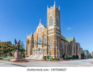 SALISBURY, NC, USA-1 SEPTEMBER 2019: The St. John's Lutheran Church building, located in downtown.  Original sanctuary built in 1927.
