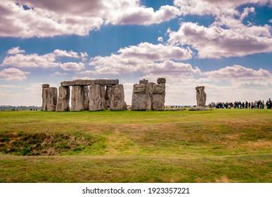 Salisbury Plain, UK - April 18 2014: Stonehenge, an ancient prehistoric stone monument in England. Ιt is an Unesco World Heritage Site.