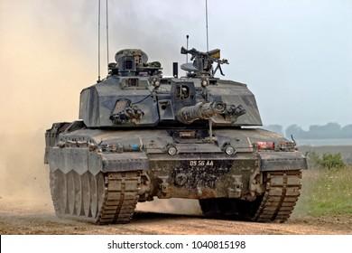 Salisbury Plain, Wiltshire, UK - August 05, 2004: A British Army Challenger 2  Main Battle Tank (MBT) on Salisbury Plain