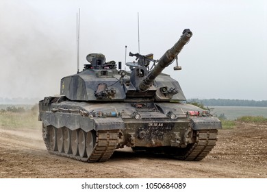 Salisbury Plain, Wiltshire, UK - August 5, 2004: A British Army Challenger 2  Main Battle Tank (MBT) on the Salisbury Plain Military Training Area