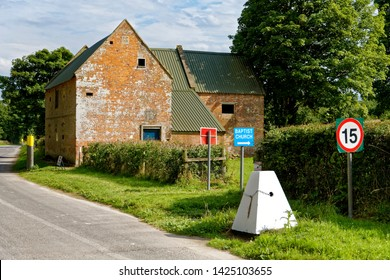 Salisbury Plain, Wiltshire / UK - August 22 2015: The Bell Inn at the deserted village of Imber on Salisbury Plain Training Area, Wiltshire, United Kingdom.