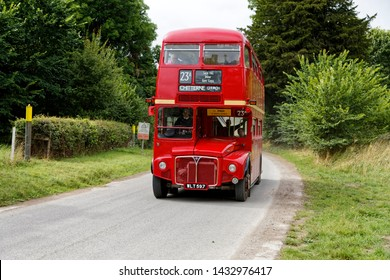 Salisbury Plain, Wiltshire / UK - August 20 2016: An ex London Red Routemaster AEC Double Decker bus at Imber village on the 2016 Imberbus Running Day on Salisbury Plain Training Area, Wiltshire, UK