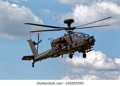 Salisbury Plain, Wiltshire / UK -July 1 2011:A British Army Air Corps AugustaWestland WAH-64D Apache AH.1 helicopter flies over the Salisbury Plain Military Training Area in Wiltshire, United Kingdom