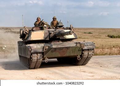 Salisbury Plain, Wiltshire, UK - September 22, 2005:  A US Marine Corps M1A1 Abrams Main Battle Tank on the Salisbury Plain Training Area in Wiltshire, UK