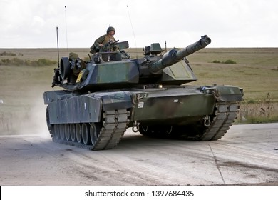 Salisbury Plain, Wiltshire / UK - September 25 2005: A United States Marine Corps M1A1 Abrams Main Battle Tank from the 2nd Marine Division's 2nd Tank Battalion on Salisbury Plain Training Area