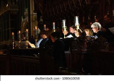 SALISBURY, UK - AUGUST 25, 2017: Salisbury cathedral. Choir rehearsal. Selected focus.