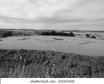 SALISBURY, UK - CIRCA SEPTEMBER 2016: Ruins of Old Sarum Cathedral church in black and white