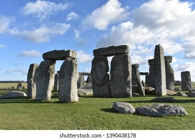 Salisbury, UK - January 28th, 2019: Stonehenge, a UNESCO World Heritage Site and English Heritage Site, stands in rural Wiltshire, near Salisbury, UK.