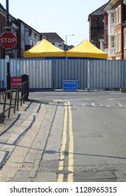 Salisbury, UK July 2018. The Rollestone Street cordon has been widened as pain staking forensic work is now conducted behind barriers outside John Baker House hostel, home to Dawn Sturgess