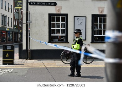 Salisbury, UK - July 6, 2018: Police cordon off a hostel in the city centre as investigations continue after local residents Charlie Rowley and Dawn Sturgess fell ill with nerve agent poisoning.