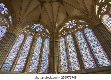 SALISBURY, UK - MAR 7: Stained glass windows of the Chapter House, Salisbury Cathedral on March 7, 2015, in Salisbury, UK. Current exhibition to mark the 800th anniversary of the Magna Carta.