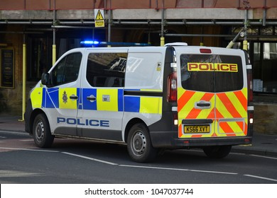 Salisbury, UK - March 6, 2018: A police vehicle responds to an emergency. Salisbury has seen an increased police presence since the poisoning of former Russian spy Sergei Skripal with a nerve agent.