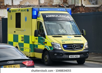 Salisbury, UK - March 6, 2018: A ambulance responds to an emergency. Salisbury has seen an increased emergency services presence since the poisoning of former Russian spy Sergei Skripal.