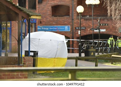Salisbury, UK - March 6, 2018: A police forensics tent is seen at the scene of the poisoning of former spy Sergei Skripal. A nerve agent was used in the attack on Sergei Skripal his daughter Yulia.