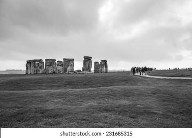 Salisbury, UK - October 30: Tourists visiting the Stonehenge monument near Salisbury, UK on October 30, 2014. Stonehenge is a prehistoric monument located in England, UK.