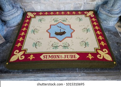Salisbury, Wiltshire, England - 1.26.18 Salisbury Cathedral Kneeler dedicated to St Simon the Zealot and St Jude, brother of St James - Apostles of Christ.