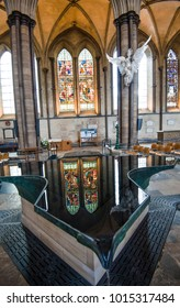Salisbury, Wiltshire, England - 1.26.18 Salisbury Cathedral baptismal font, an infinity pool with four waterfalls, designed by William Pye in 2008 to celebrate the Cathedral's 750th Anniversary.