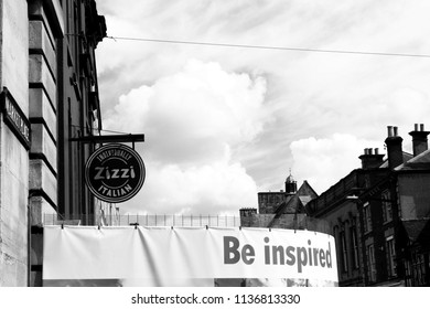 Salisbury, Wiltshire, England - July 17, 2018: monochrome Zizzi Italian chain restaurant for pizza, location of the Novichok nerve agent attack on Sergei and Yulia Skripal