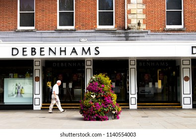 Salisbury, Wiltshire, England - July 22, 2018: Debenhams department store, founded in 1778 by William Clark, who began trading at 44 Wigmore Street, London