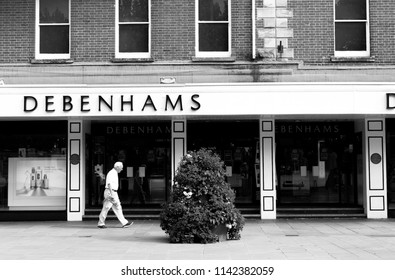 Salisbury, Wiltshire, England - July 22, 2018: monochrome Debenhams department store, founded in 1778 by William Clark, who began trading at 44 Wigmore Street, London