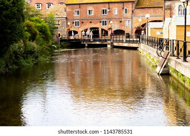 Salisbury, Wiltshire, England - July 22, 2018: Historic city River Side walk area formally closed due to the Novichok nerve agent attack on Sergei and Yulia Skripal
