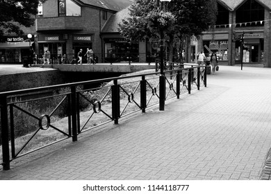 Salisbury, Wiltshire, England - July 22, 2018: monochrome historic City River Side walk area formally closed due to the Novichok nerve agent attack on Sergei and Yulia Skripal
