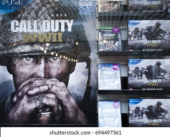 Salisbury, Wiltshire, England - July 25, 2017: Game store window display advertising Call of Duty