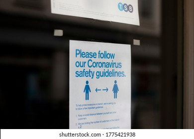 Salisbury, Wiltshire, England - July 6, 2020, COVID 19 pandemic safety guidelines sign on door of TSB Trustees Saving Bank local branch,
