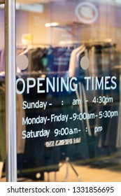 Salisbury, Wiltshire, England - March 06, 2019: Topshop ladies high street fashion store opening times on door, part of the Arcadia Group owned by Sir Philip Nigel Ross Green